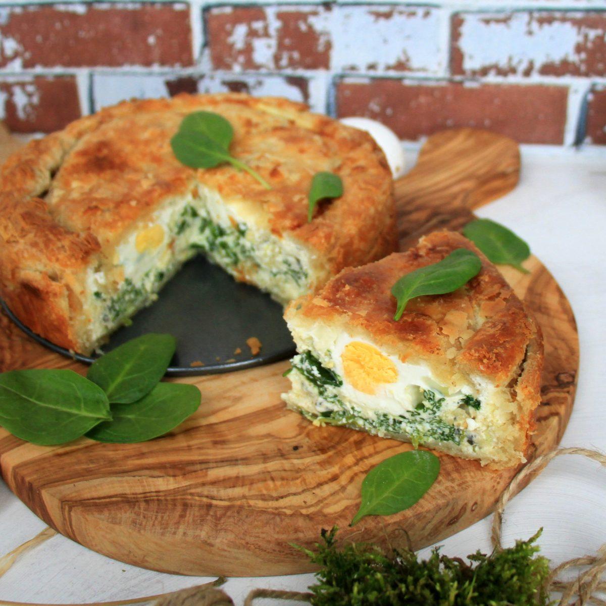 Velikonoční koláč se špenátem aricottou